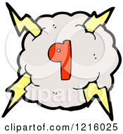 Cartoon Of A Stormy Cloud And Number 9 Royalty Free Vector Illustration by lineartestpilot