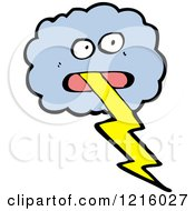 Cartoon Of A Stormy Cloud With A Lightning Bolt Royalty Free Vector Illustration by lineartestpilot