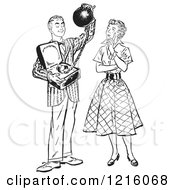 Vintage Clipart Of A Retro Teenage Boy Offering His Girlfriend Commitment As A Ball And Chain In Black And White Royalty Free Vector Illustration