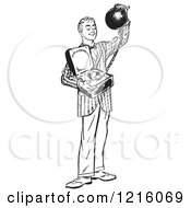 Vintage Clipart Of A Retro Teenage Boy Offering Commitment As A Ball And Chain In Black And White Royalty Free Vector Illustration