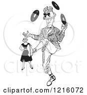 Vintage Clipart Of A Retro Annoyned Woman Watching A Teenage Boy Showing Off His Juggling Talents In Black And White Royalty Free Vector Illustration