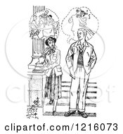 Vintage Clipart Of A Retro Teenage Couple Thinking Of How Their Dating Life Would Be In Black And White Royalty Free Vector Illustration by Picsburg