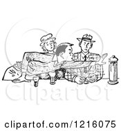 Vintage Clipart Of A Retro Teenage Couple And Rude Boy Reaching Across A Table In Black And White Royalty Free Vector Illustration by Picsburg