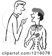 Cartoon Of A Retro Talkative Couple Having A Conversation In Black And White Royalty Free Vector Clipart by Picsburg #COLLC1216078-0181