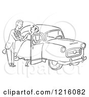 Cartoon Of A Retro Polite Gentleman Helping A Lady Into A Car In Black And White Royalty Free Vector Clipart