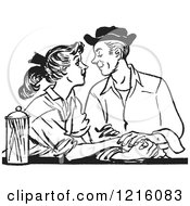 Vintage Clipart Of A Retro Teenage Couple Gazing At A Diner In Black And White Royalty Free Vector Illustration