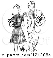 Vintage Clipart Of A Retro Teenage High School Couple Waving While Passing At School In Black And White Royalty Free Vector Illustration