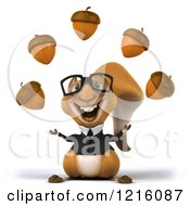Clipart Of A 3d Business Squirrel Wearing Glasses And Juggling Acorns Royalty Free Vector Illustration