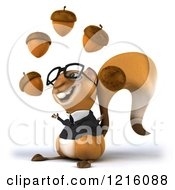 Clipart Of A 3d Business Squirrel Wearing Glasses And Juggling Acorns 2 Royalty Free Vector Illustration