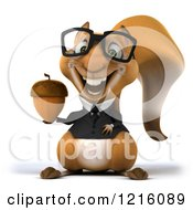 Clipart Of A 3d Business Squirrel Wearing Glasses And Holding An Acorn Royalty Free Vector Illustration