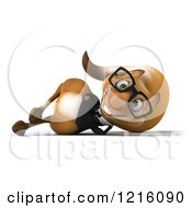Clipart Of A 3d Business Squirrel Wearing Glasses And Resting On His Side Royalty Free Vector Illustration