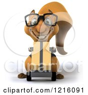 Clipart Of A 3d Business Squirrel Wearing Glasses And Pushing Boxes On A Dolly Royalty Free Vector Illustration