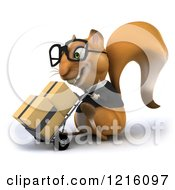 Clipart Of A 3d Business Squirrel Wearing Glasses And Pushing Boxes On A Dolly 3 Royalty Free Vector Illustration