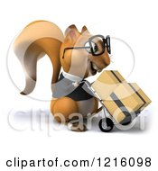 Clipart Of A 3d Business Squirrel Wearing Glasses And Pushing Boxes On A Dolly 2 Royalty Free Vector Illustration