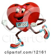 Clay Sculpture Clipart Jogging Heart With A Timer Royalty Free 3d Illustration