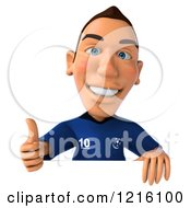 Clipart Of A 3d Caucasian French Soccer Player Holding A Thumb Up Over A Sign Royalty Free Vector Illustration