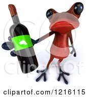 3d Red Springer Frog Holding Up A Wine Bottle