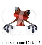 3d Red Springer Frog Over A Sign