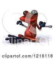 Clipart Of A 3d Red Springer Frog Meditating Royalty Free Vector Illustration