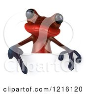 3d Red Springer Frog Pointing Down To A Sign