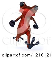 Clipart Of A 3d Red Springer Frog Running Royalty Free Vector Illustration