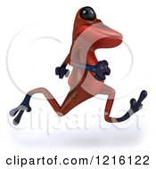 Clipart Of A 3d Red Springer Frog Running 2 Royalty Free Vector Illustration
