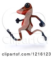 Clipart Of A 3d Red Springer Frog Running 3 Royalty Free Vector Illustration