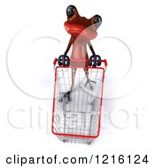 3d Red Springer Frog Pushing A Shopping Cart 2