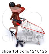 3d Red Springer Frog Pushing A Shopping Cart 3