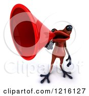 3d Red Springer Frog Announcing With A Megaphone