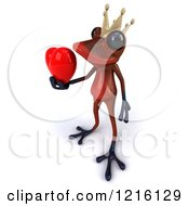 3d Red Springer Frog Prince Holding A Heart