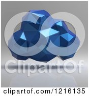Clipart Of A 3d Blue Geometric Computing Cloud Over Shading Royalty Free Vector Illustration