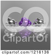 Clipart Of 3d Silver And Purple Geometric Computing Clouds Over Shading Royalty Free Vector Illustration