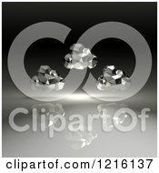 Clipart Of 3d Chrome Geometric Computing Clouds Over Shading Royalty Free Vector Illustration