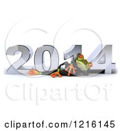 Clipart Of A 3d Business Springer Frog Relaxing By New Year 2014 Royalty Free Vector Illustration by Julos