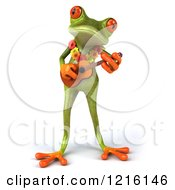 Clipart Of A 3d Springer Frog Playing A Ukulele Royalty Free Vector Illustration