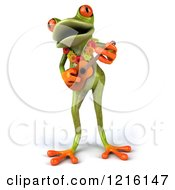 Clipart Of A 3d Springer Frog Playing A Ukulele 2 Royalty Free Vector Illustration