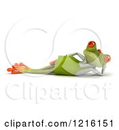 Clipart Of A 3d Green Springer Frog Reclined In A Gardening Apron Royalty Free Vector Illustration