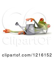 Clipart Of A 3d Green Springer Frog Reclined In A Gardening Apron By A Watering Can Royalty Free Vector Illustration