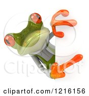 Clipart Of A 3d Springer Frog Gardener Pointing To A Sign Royalty Free Vector Illustration