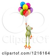 Clipart Of A 3d Springer Frog Floating With Colorful Balloons 2 Royalty Free Vector Illustration