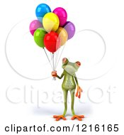 Clipart Of A 3d Springer Frog With Colorful Balloons 3 Royalty Free Vector Illustration