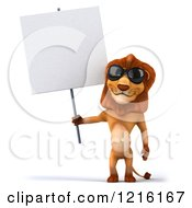 Clipart Of A 3d Lion Wearing Sunglasses And Holding A Sign Royalty Free Vector Illustration