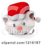 Clipart Of A 3d White Christmas Cat Looking Down At A Sign Royalty Free Vector Illustration