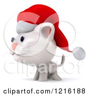 Clipart Of A 3d White Christmas Cat Wearing A Santa Hat And Facing Left Royalty Free Vector Illustration