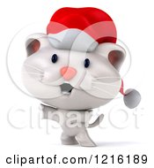 Clipart Of A 3d Happy White Christmas Cat Wearing A Santa Hat Royalty Free Vector Illustration