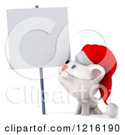 Clipart Of A 3d White Christmas Cat Looking Up At A Sign Royalty Free Vector Illustration