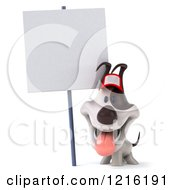 Clipart Of A 3d Panting Jack Russell Terrier Dog Wearing A Hat Under A Sign Royalty Free Vector Illustration