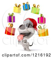 Clipart Of A 3d Christmas Jack Russell Terrier Dog Juggling Presents Royalty Free Vector Illustration