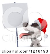 Clipart Of A 3d Christmas Jack Russell Terrier Dog Looking Up At A Sign Royalty Free Vector Illustration
